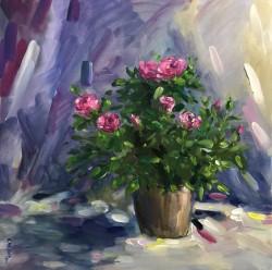 Tranh Chậu hoa hồng