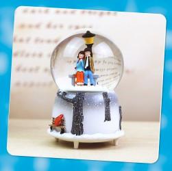 CT01B - Quà tặng quả cầu tuyết cặp đôi mùa đông tuyết đèn nhạc tự động