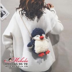T39 Túi đeo chéo chim cánh cụt, có clip.