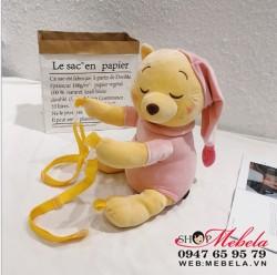 BL41 Balo kiêm túi đeo chéo kiêm thú nhồi hình gấu Pooh ngủ cực yêu