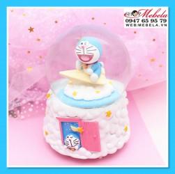 Quà tặng sinh nhật, quà lưu niệm quả cầu tuyết Doraemon vặn cót có nhạc, xoay tròn