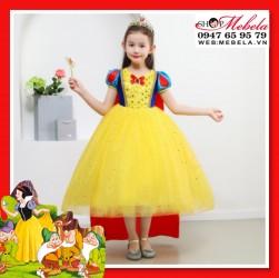 Váy đầm công chúa Bạch Tuyết cho bé gồm Váy + áo choàng dài + Bờm nơ đỏ cho bé 12-32kg