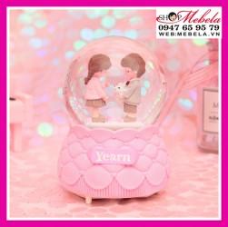 Quà tặng sinh nhật bạn gái quả cầu tuyết cặp đôi tặng thỏ có đèn nhạc tuyết phun tự động