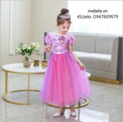 Váy công chúa tóc mây Rapunzel cho bé có hình thật
