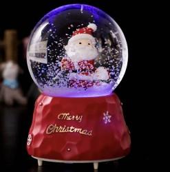 Quà lưu niệm quả cầu tuyết ông già Noel và người tuyết có tuyết fun tự động, đèn, nhạc