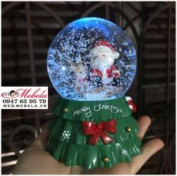 Quà giáng sinh quả cầu tuyết ông già Noel và tuần lộc có đèn, nhạc, có clip và ảnh chụp