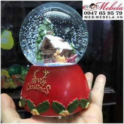 Quà lưu niệm, quà giáng sinh quả cầu tuyết ngôi nhà có đèn, nhạc, có clip và ảnh chụp