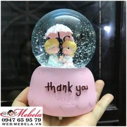 Quà lưu niệm, quà sinh nhật quả cầu tuyết thank you có đèn, nhạc, ảnh và clip tự quay