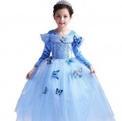 Váy công chúa Lọ Lem Cinderella dài tay cho bé từ 15-27kg. váy có kèm 10 bướm.