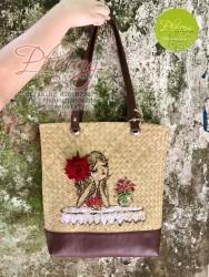 DV01 - Túi cói bàng đeo vai cô gái hoa hồng đỏ