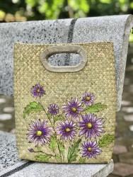 Túi cói vẽ tay hoa cúc tím xinh xắn