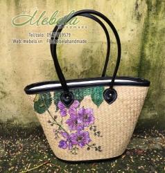 Túi cỏ bàng vẽ tay hoa bằng lăng tím size đại