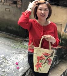 Túi cói vẽ tay hoa gạo