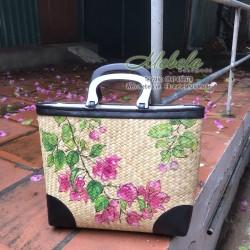 Túi cói quai gỗ vẽ tay hoa giấy