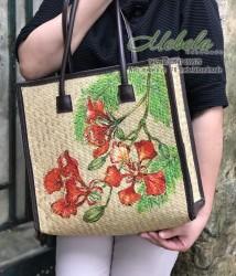 Túi cói vẽ tay hoa phượng