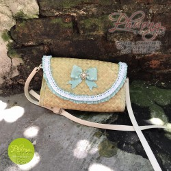 Túi cói trang trí nơ xinh