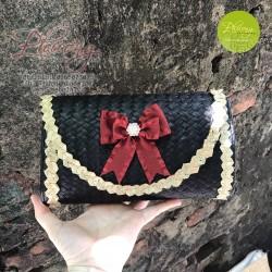 Túi cói đeo chéo đen nơ đỏ xinh xắn