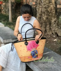 Túi có vẽ tay hoa cẩm tú cầu và cặp đôi tỏ tình size đại