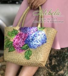Túi cói hình thang vẽ tay hoa cẩm tú cầu