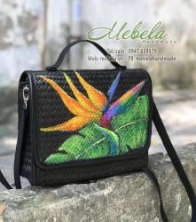 Túi cói đen vẽ tay hoa thiên điểu