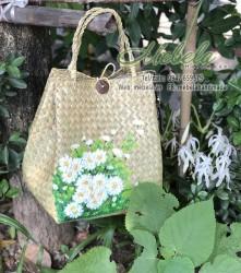 Túi cói vẽ tay cúc hoa mi