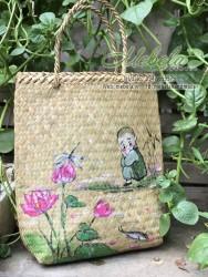 Bị cói vẽ tay chú tiểu hoa sen