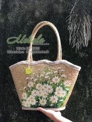 Túi cói gợn sóng vẽ tay cúc hoa mi