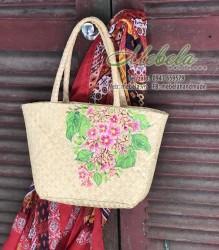Túi handmade cỏ bàng vẽ tay hoa khế