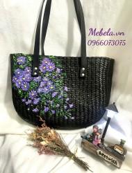 Túi cỏ bàng đen vẽ hoa thạch thảo xinh xắn
