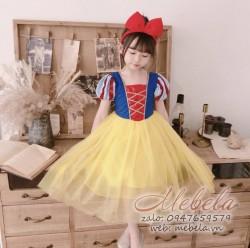 Đầm công chúa Bạch Tuyết kim sa đỏ 13-25kg