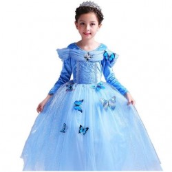 Váy công chúa Lọ Lem Cinderella dài tay cho bé từ 15-26kg. váy có kèm 10 bướm.