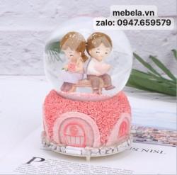 Quà lưu niệm quả cầu tuyết cặp đôi hoa hồng
