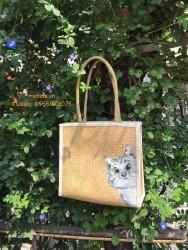 Túi cói vuông viền vải vẽ mèo xinh