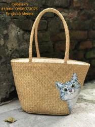 Giỏ cói hình thang vẽ mèo xinh (SIZE LỚN)