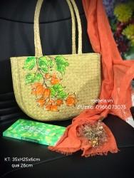 Túi cỏ bàng hình bán nguyệt quai ống bàng vẽ tay hoa giấy màu cam