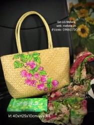 Túi cói chữ nhật quai ống bàng vẽ hoa giấy
