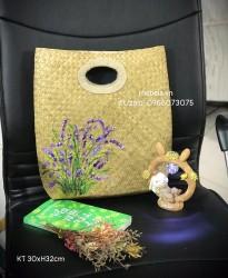 Giỏ cỏ bàng chữ nhật vẽ hoa Lavender tím xinh xắn