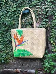 Túi cỏ bàng vuông quai ống vẽ hoa Thiên điểu