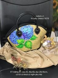 Túi cỏ bàng dáng hến viền da vẽ tay hoa Cẩm tú cầu