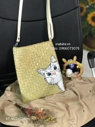 Túi cói đeo chéo chữ nhật vẽ tay mèo xinh