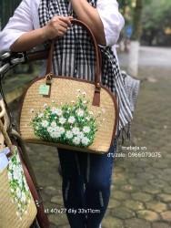 Túi cỏ bàng dáng hến viền da vẽ tay hoa Cúc họa mi