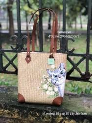 Túi cói quai da bo góc vẽ tay vẽ mèo xinh