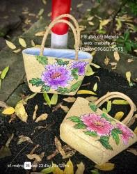 Túi cói hình thang quai ống bàng vẽ hoa Mẫu Đơn cỡ bé