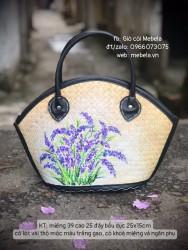 Túi cỏ bàng dáng hến viền da vẽ tay hoa LAVENDER