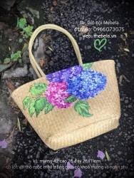 Túi cói hình thang quai ống bàng vẽ tay hoa Cẩm Tú Cầu (cỡ to)