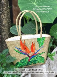 Túi cói hình thang vẽ hoa Thiên Điểu (cỡ trung)