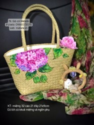 Túi cói hình thang vẽ hoa Cẩm Tú Cầu (cỡ nhỏ)