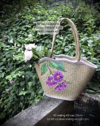 Túi cói gợn sóng vẽ hoa Bằng Lăng tím