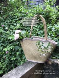 Túi cói gợn sóng vẽ hoa Cúc Họa Mi