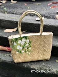 Túi cói chữ nhật quai cói vẽ tay hoa cúc hoạ mi